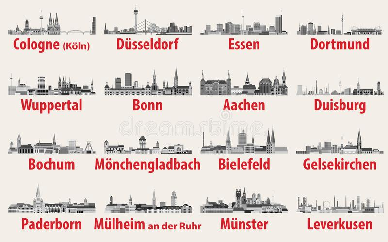 Vector illustration of Germany state North Rhine-Westphalia largest cities skylines icons in black and white color palette. Vector illustration of Germany state vector illustration