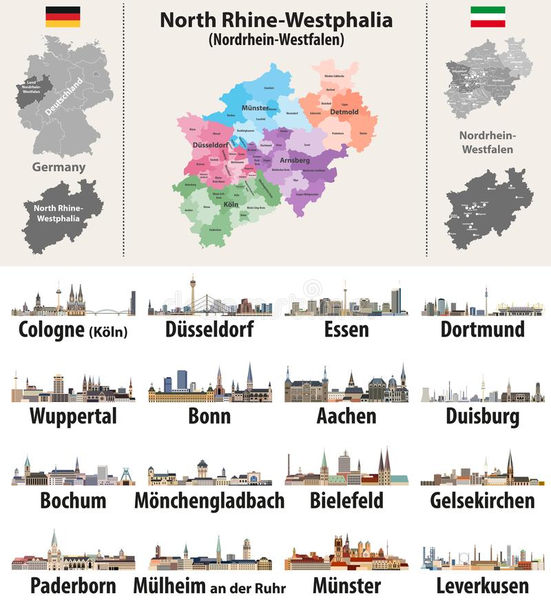 Vector illustration of Germany state`s North Rhine-Westphlia map with largest cities skylines. Icons royalty free illustration