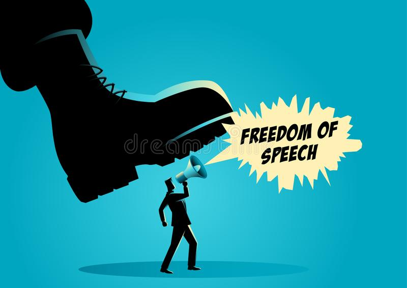 Giant army boot trampling on a man royalty free illustration