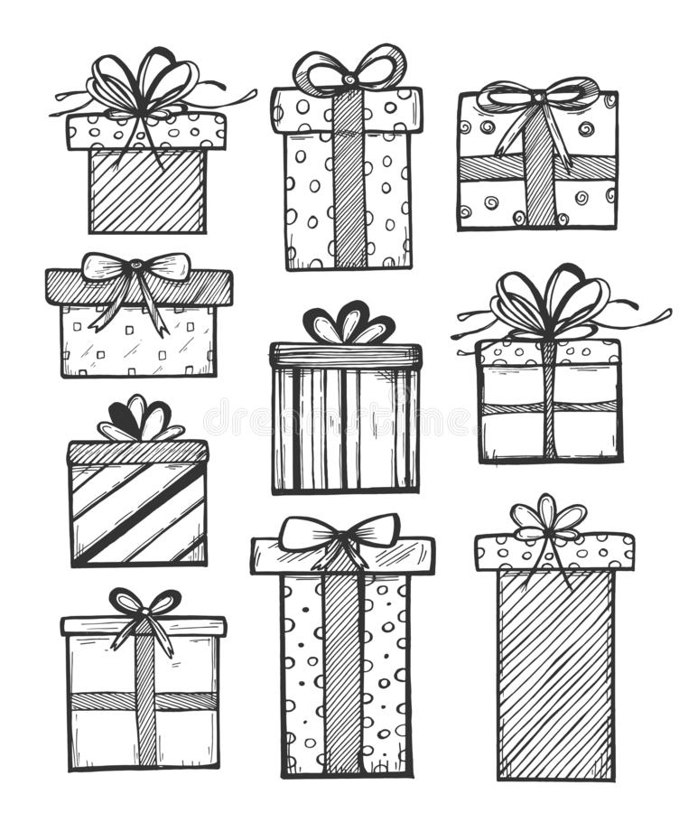 Surprise cardboard present packaging stock illustration