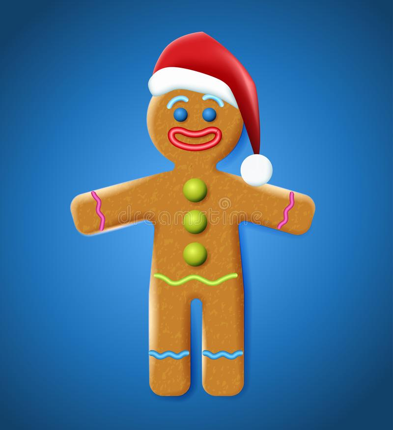 Vector illustration of the gingerbread man on the blue background. Holiday cookie in shape of stylized human. Image for New year, Christmas, winter holiday vector illustration