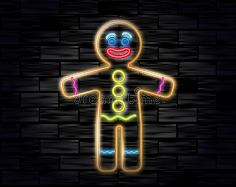 Vector illustration of the gingerbread man neon sign on the black brick background. Cookie in shape of stylized human. Image for New year, Christmas, winter stock illustration