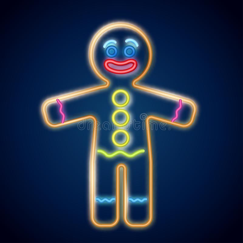 Vector illustration of the gingerbread man neon sign on the dark background. Cookie in shape of stylized human. Image for New year, Christmas, winter holiday royalty free illustration