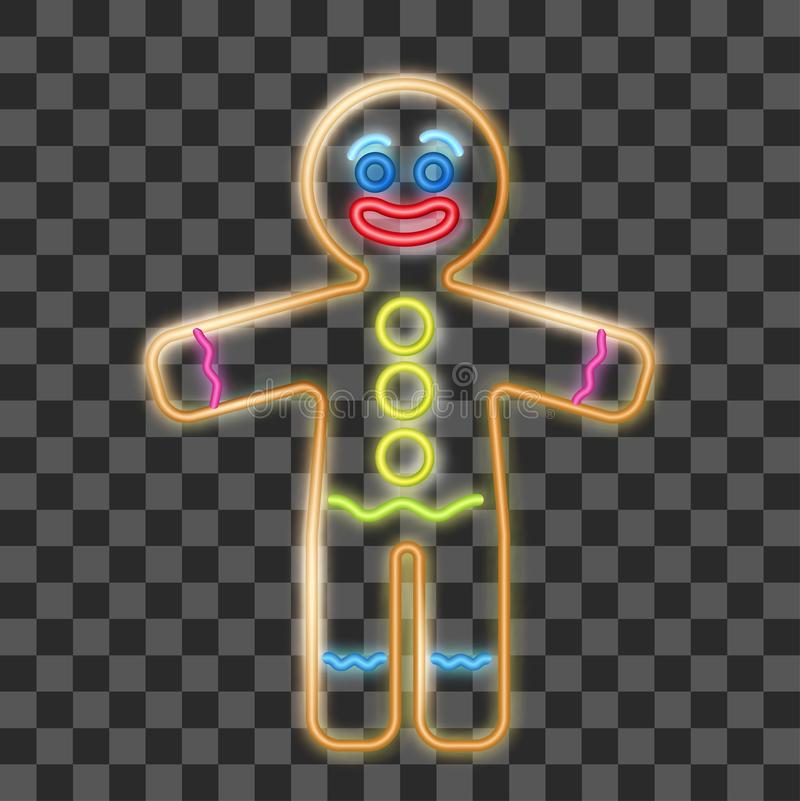 Vector illustration of the gingerbread man neon sign on the transparent background. Cookie in shape of stylized human. Vector illustration of the gingerbread stock illustration
