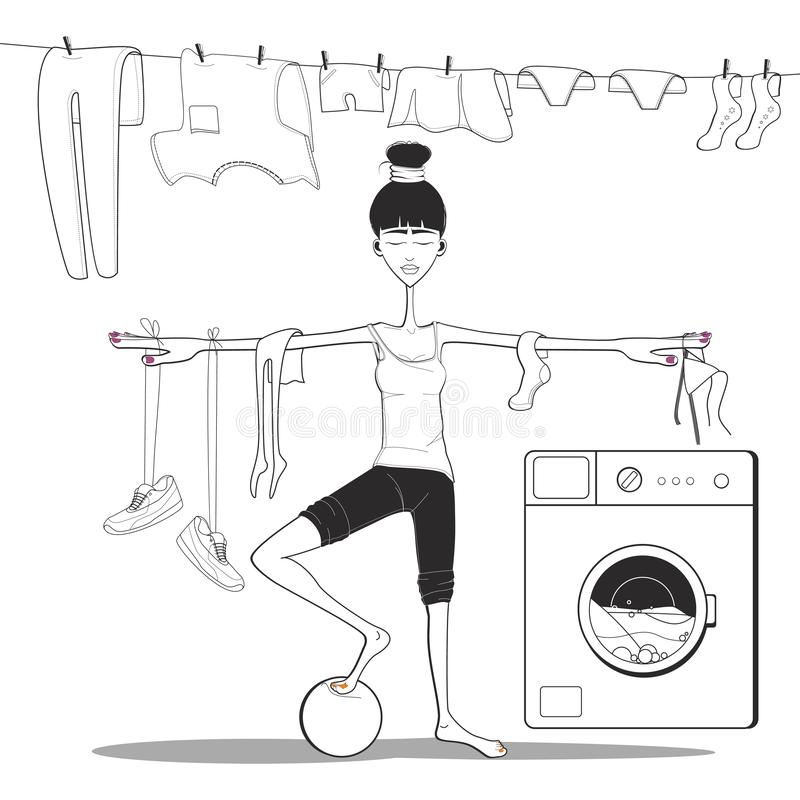 girl doing yoga in the bathroom. washes clothes in the washing machine. royalty free illustration