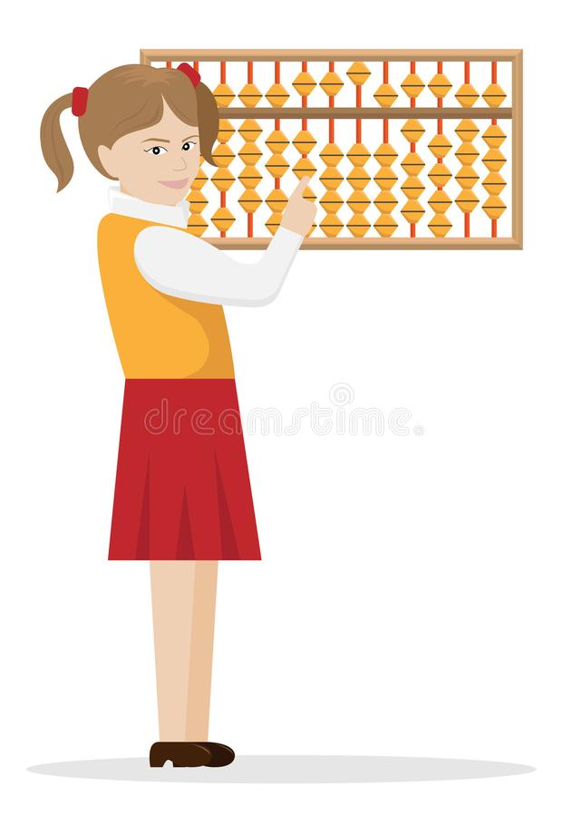 Vector illustration of the girl the engaged mental arithmetics stock illustration