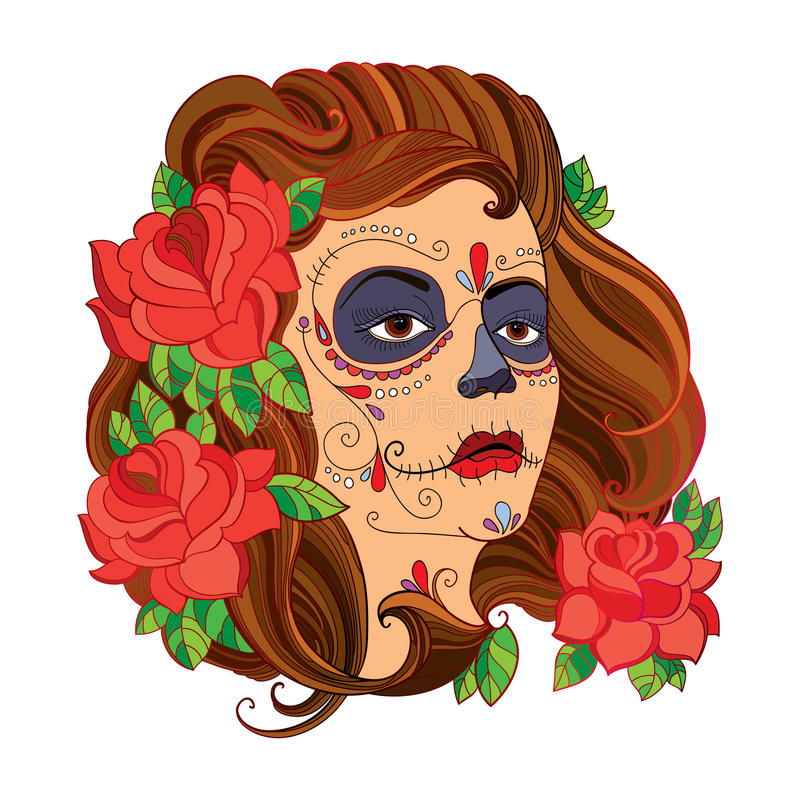 Vector illustration of girl face with Sugar skull or Calavera Catrina makeup and red roses isolated on white. stock illustration