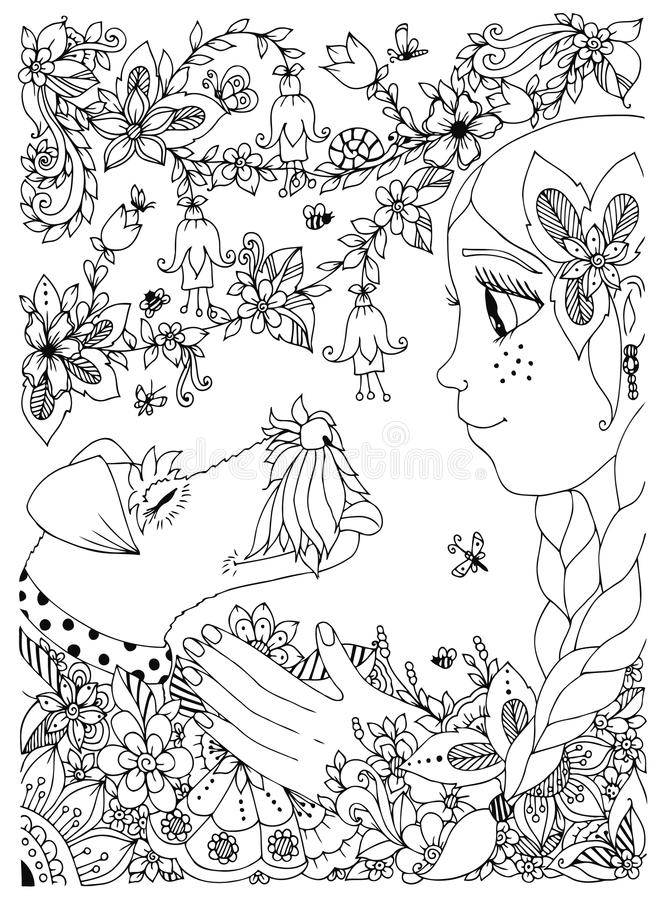 Vector illustration of a girl with freckles zentangl hugging dog fox terrier. Doodle flowers, frame, forest, garden stock illustration