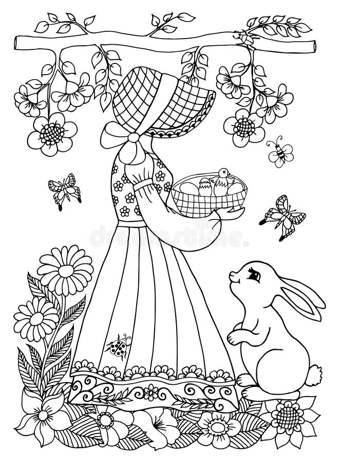 Vector illustration of a girl holding a a basket with chick and bunny watching her. The work Made in manually. Book Coloring anti- royalty free illustration