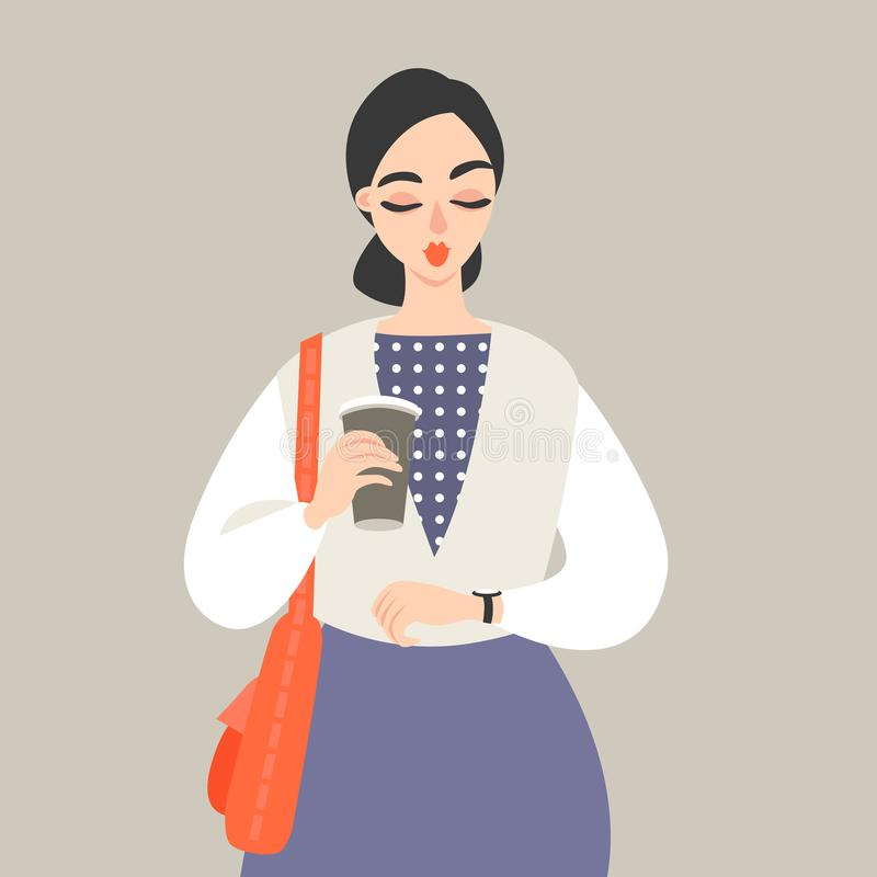 Vector illustration of a girl with a paper cup of coffee stock illustration