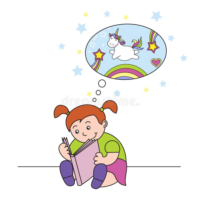 vector illustration girl reading a book and dreaming of a cute unicorn stock illustration
