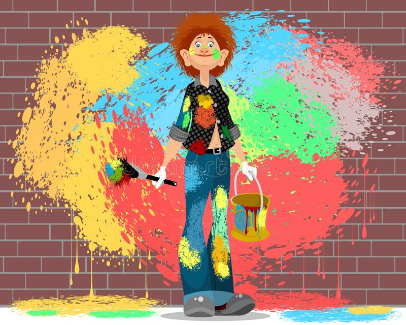 Girl stained in paint stock illustration