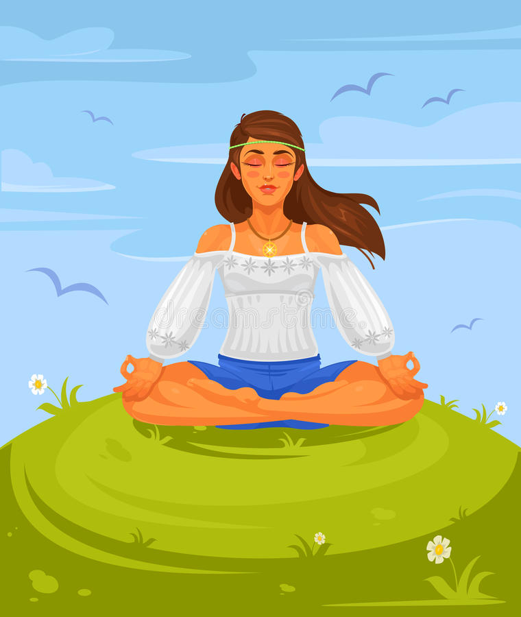Vector illustration of a girl yoga in the lotus position. The girl hippie is engaged in yoga outdoors royalty free illustration