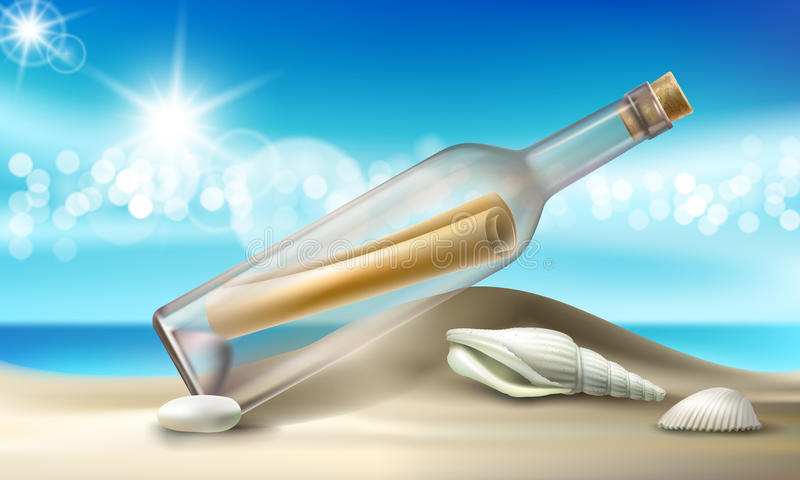 Vector illustration of a glass bottle with a message lying on a sandy beach with seashells and pebbles. vector illustration