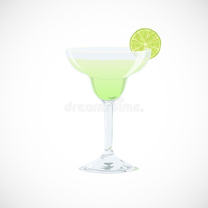 Vector illustration of glass of classics Margarita cocktail. Vector illustration of glass of classic Margarita cocktail isolated on white background. Summer vector illustration