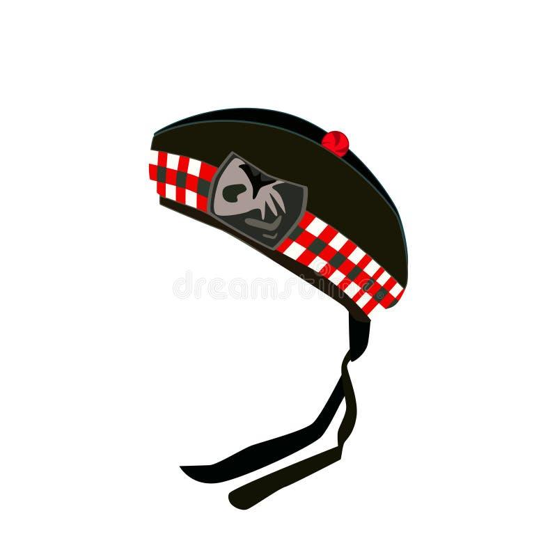 Scottish traditional clothing Glengarry bonnet vector illustration vector illustration
