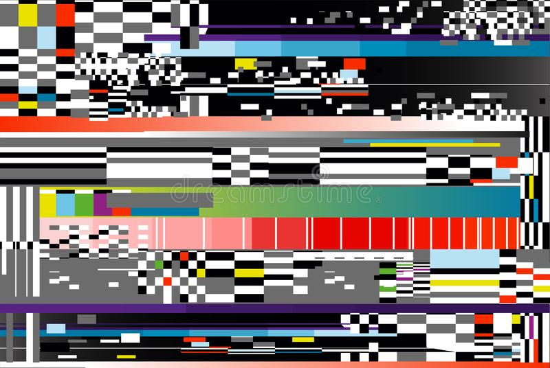 Vector illustration of glitch background. Computer screen error or digital pixel noise abstract design. royalty free illustration