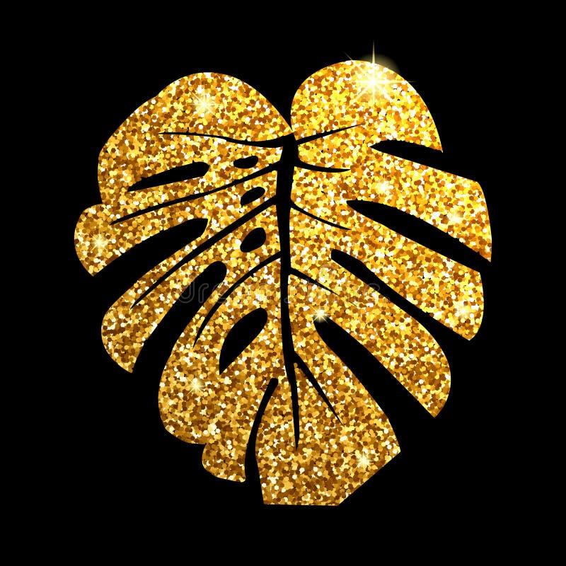 Vector illustration.  Glitter texture gold tropical leaf monstera on black background. Vector illustration. Glitter texture gold tropical leaf monstera on black stock photos