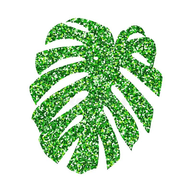 Vector illustration.  Glitter texture green tropical leaf monstera isolated on white background. Vector illustration. Glitter texture green tropical leaf vector illustration
