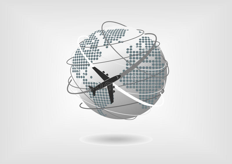 Vector illustration of globe and airplane with dotted world map of download vector illustration of globe and airplane with dotted world map of north america south gumiabroncs Images