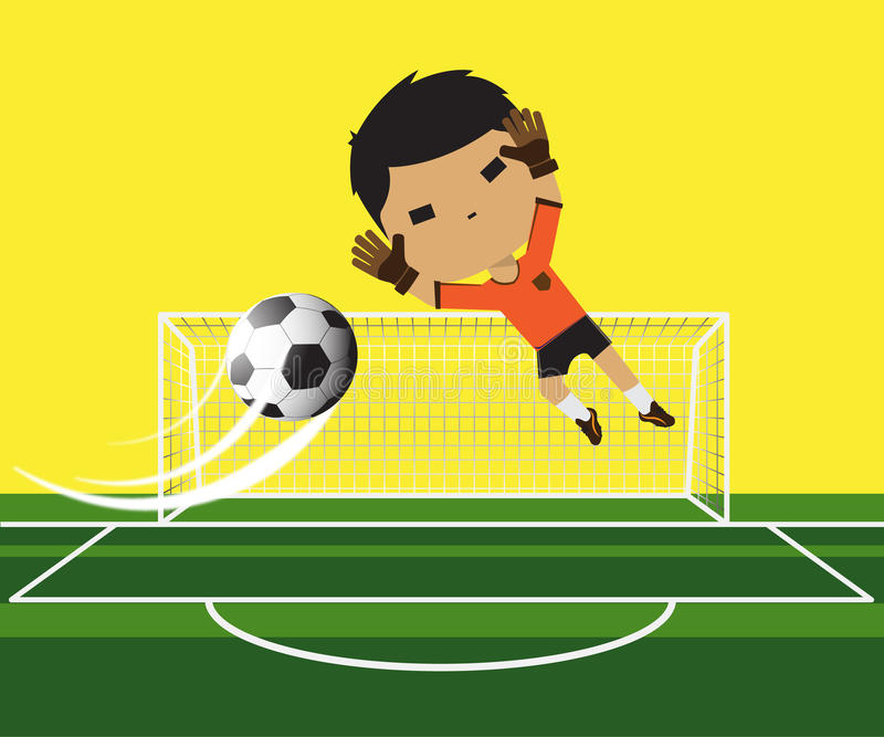 Vector illustration of a goalkeeper Boy trying catching the ball on football gate vector illustration
