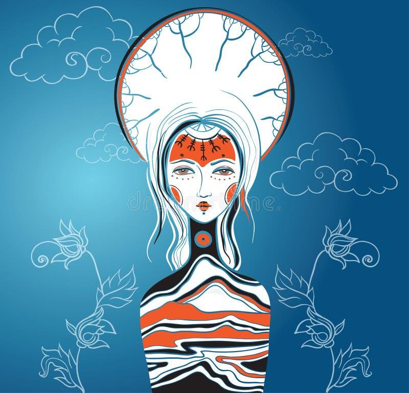 Vector illustration of the Goddess. Female archetype. Mother nat royalty free illustration
