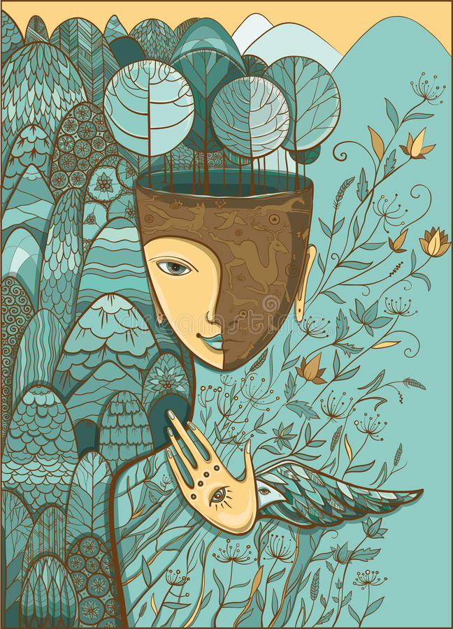 Vector illustration of the goddess of Mother Nature. Vector pastel blue and beige illustration of Mother Nature with animals, trees, flowers and mountains vector illustration