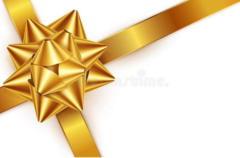 Vector illustration. Gold bow for packing gifts, isolated stock illustration