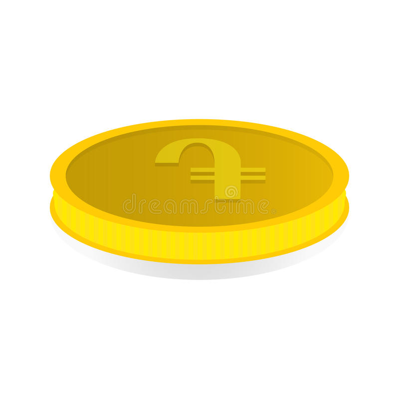 Vector illustration of a gold coin with symbol of amd, dram.  royalty free illustration