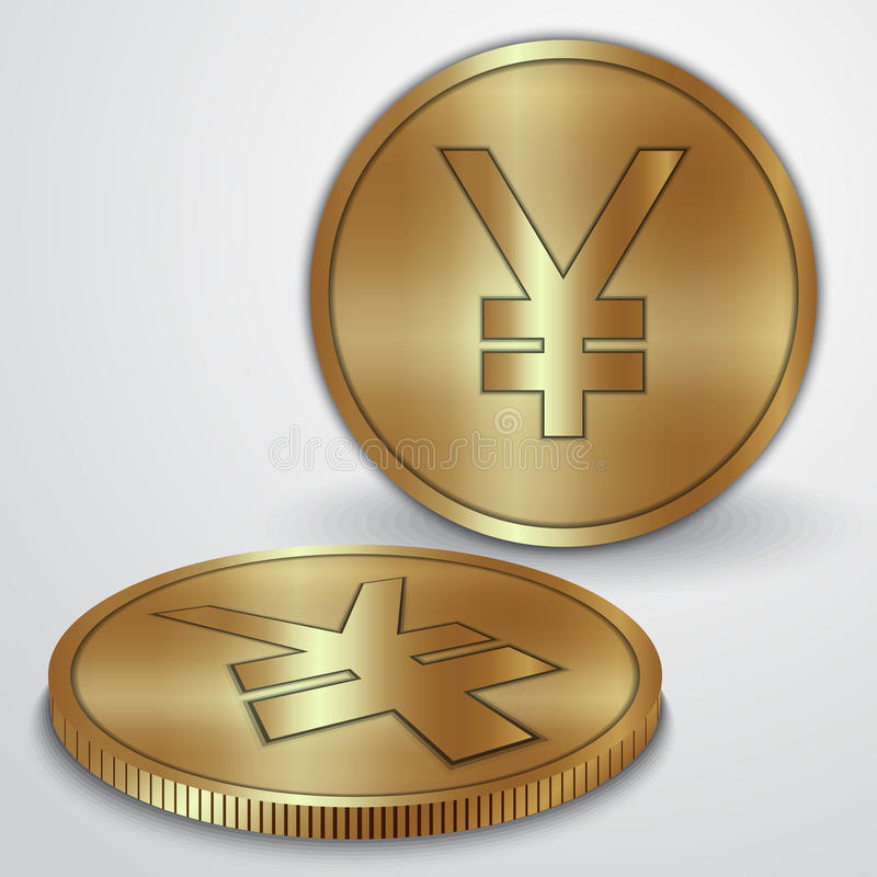 Vector illustration of gold coins with Japanese. Vector illustration of golden coins with Japanese Yen JPY currency sign royalty free illustration
