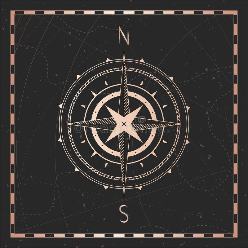 Vector illustration with gold compass or wind rose and frame on dark background. With basic directions North andSouth stock illustration