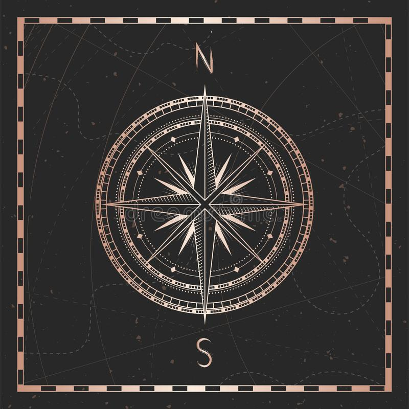 Vector illustration with gold compass or wind rose and frame on dark background. With basic directions North andSouth royalty free illustration