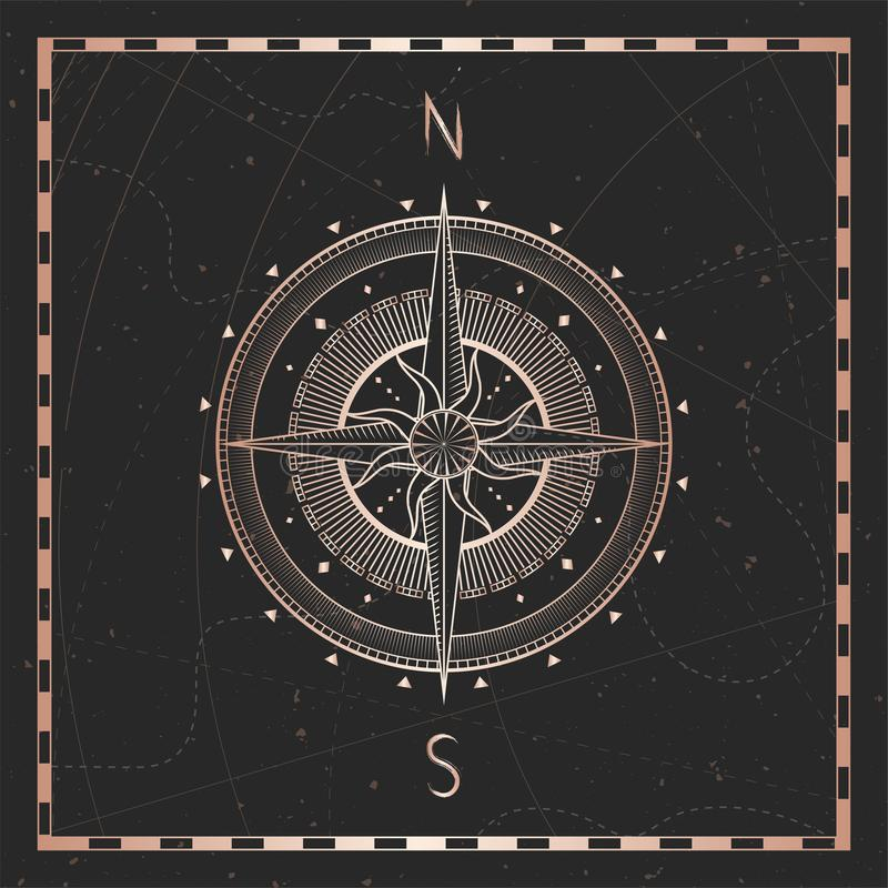 Vector illustration with gold compass or wind rose and frame on dark background. With basic directions North andSouth vector illustration