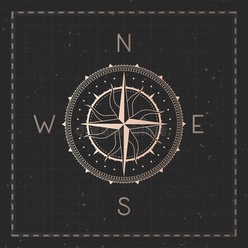 Vector illustration with gold compass or wind rose and frame on dark background. With basic directions North, East, South and West stock illustration
