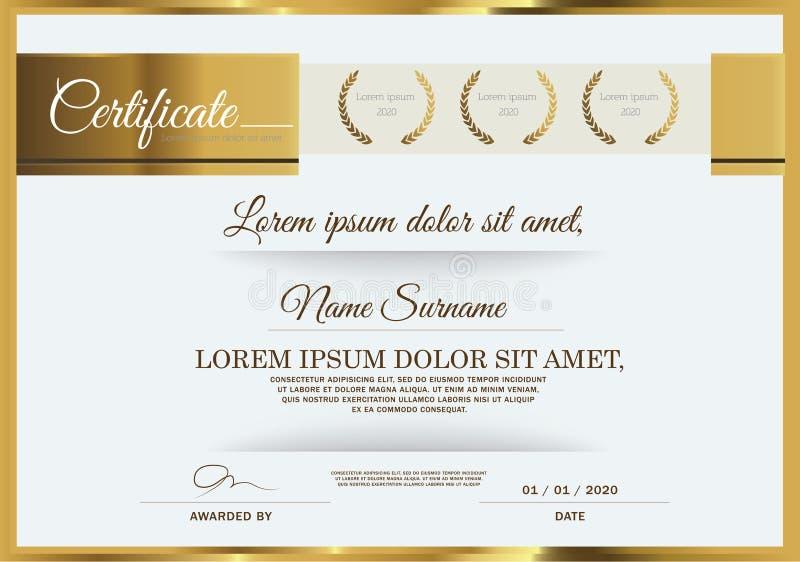 Vector illustration of gold detailed certificate. Certificate of achievement frame design template vector illustration