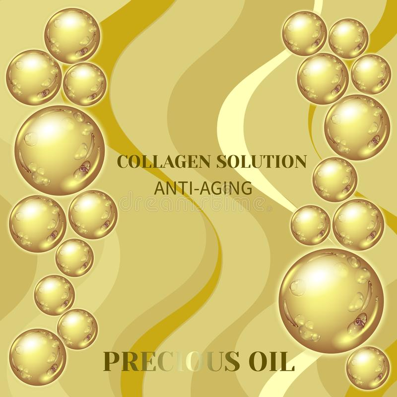 Collagen serum droplets. Vector Illustration of gold oil bubbles on precious background.Collagen emulsion in water. Gold serum droplets.Package design cosmetic vector illustration