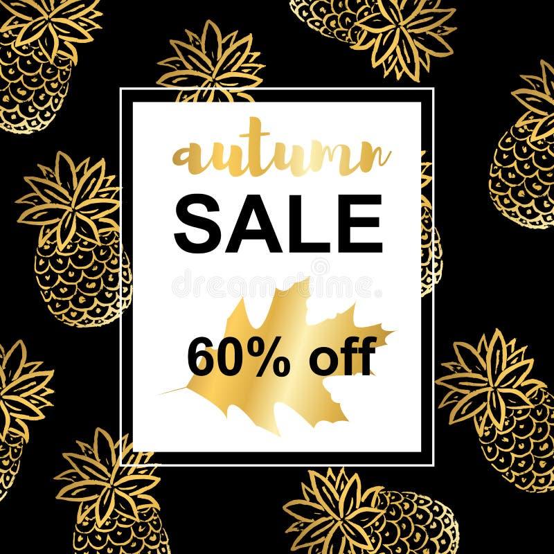 Gold pineapples . Autumn sale template stock illustration