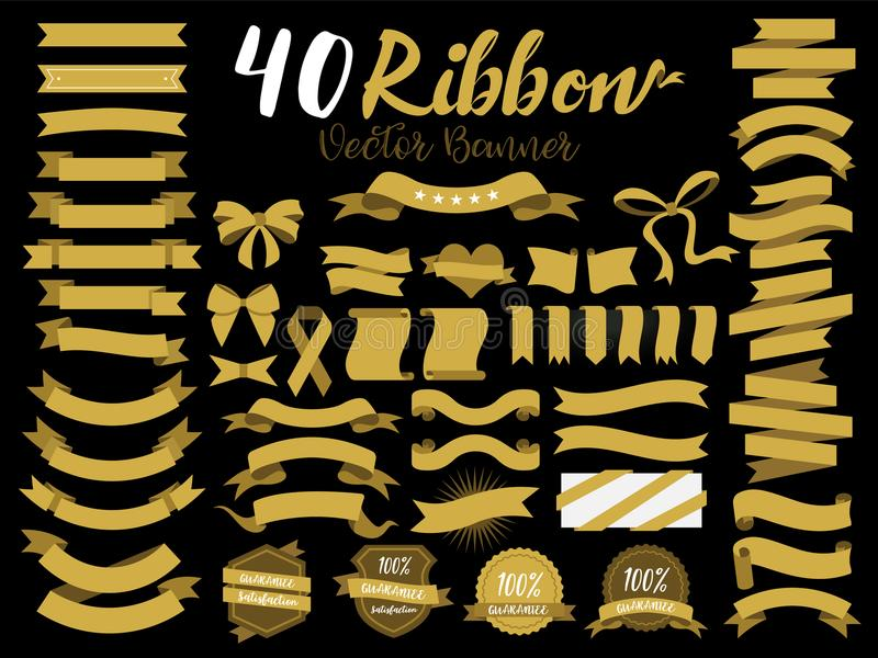 40 Gold Ribbon vector illustration with flat design. Included the graphic element as retro badge, guarantee label, sale tag, disco vector illustration