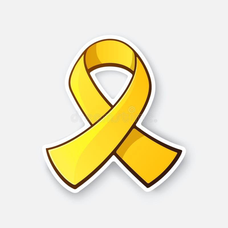 Sticker of gold ribbon, symbol of Childhood Cancer. Vector illustration. Gold ribbon, symbol of Childhood Cancer. Yellow ribbon, symbol of suicide, or vector illustration