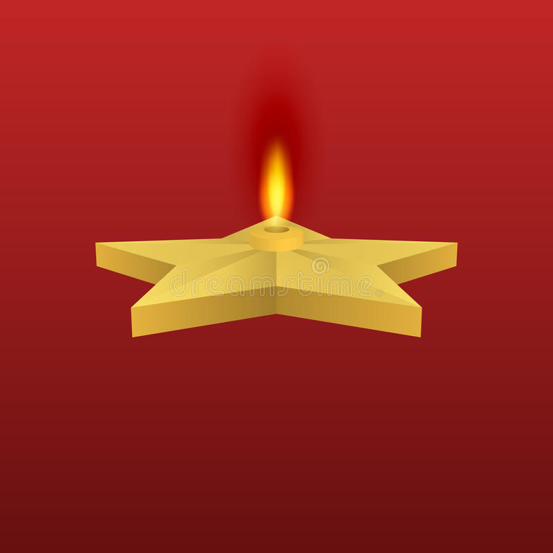 Vector illustration of a gold star with fire. Eternal flame stock illustration