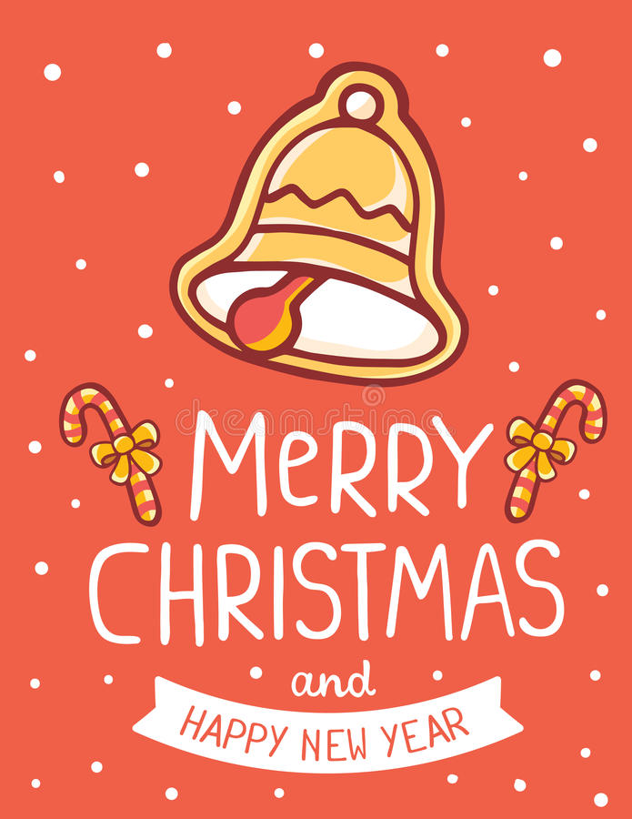 Vector illustration of golden color christmas bell with cane, ha royalty free illustration