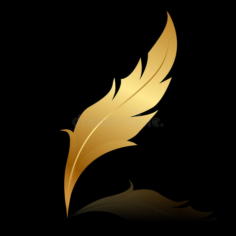 Golden feather on black stock illustration