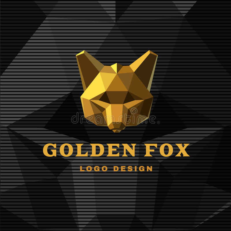 Gradient Abstract Company Logo Template:  Abstract Logo With Golden Fox Stock Vector