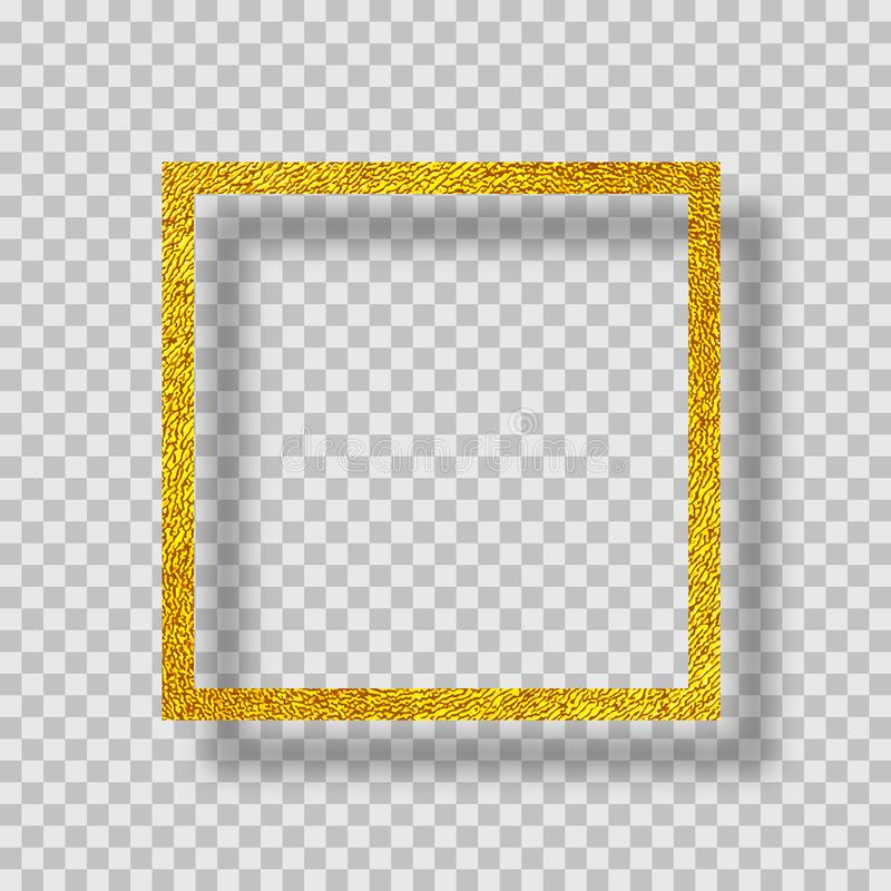Golden frame with shadow vector illustration