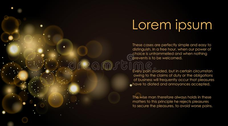 Vector illustration golden light effects on black background. Lights abstract, golden soft bokeh concept with place for royalty free illustration