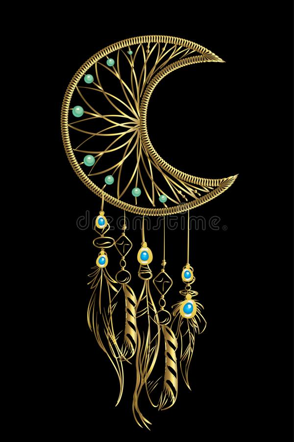 Vector illustration with golden luxury dream catcher with feathers and jewels on a black background. Ornate ethnic items, feathers vector illustration