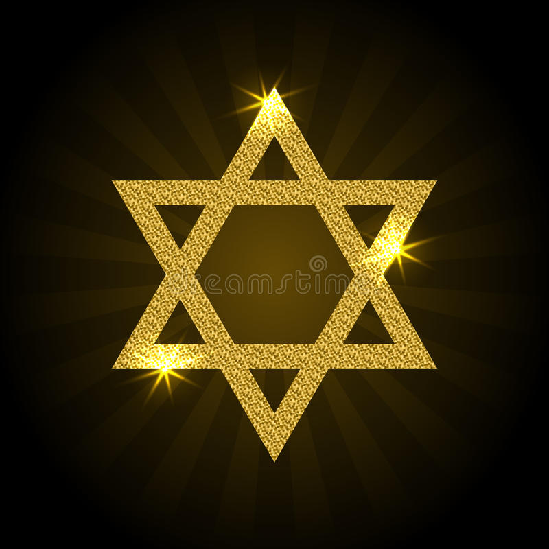 Vector illustration of golden Magen David with rays and sparkle. Star of David on a black background vector illustration