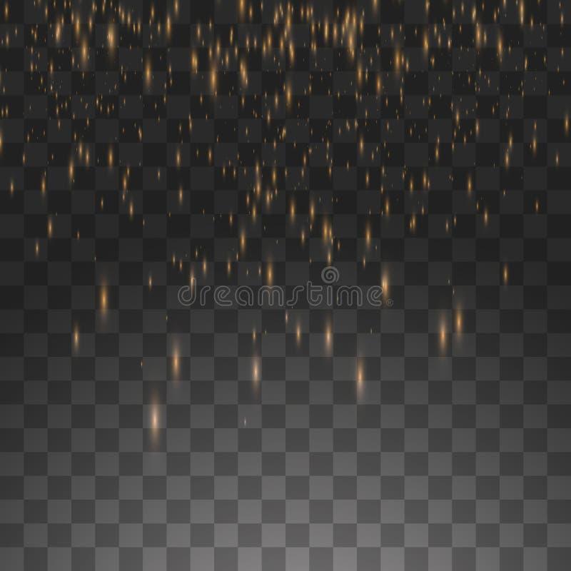 Vector illustration golden rain isolated on a transparent background stock illustration