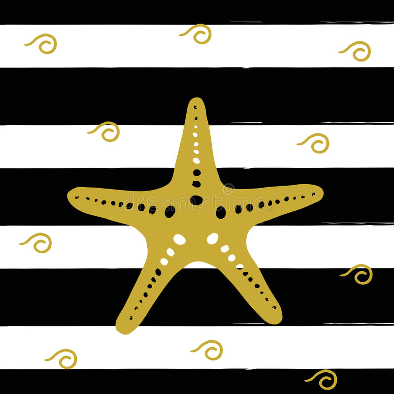 Vector illustration of golden sea star on the black stripes. stock illustration