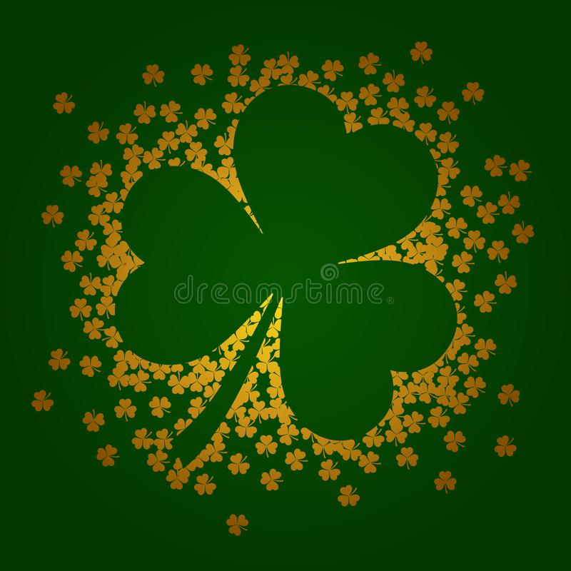 Vector illustration with golden shamrocks on green background. Illustration with golden shamrocks on green background royalty free illustration
